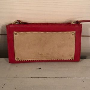 India Hicks leather and linen clutch
